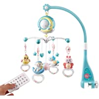 Baby Musical Mobile Crib with Music and Lights, Timing Function, Remote, Projection, Cartoon Rattle Music Box for Babies…