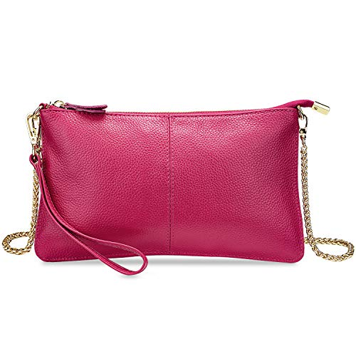 YALUXE Women's Real Leather Large Wristlet Phone Clutch Wallet with Shoulder Chain Pink