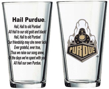 (Purdue Boilermakers Pint Glass with Train Logo and Hail Purdue)