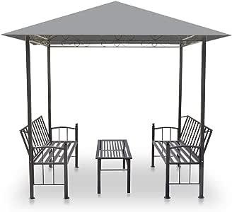 Festnight Set de Muebles de Jardín Pérgola de Pardín con Mesa y Bancos Carpa Exterior 2,5x1,5x2,4 m Gris: Amazon.es: Hogar