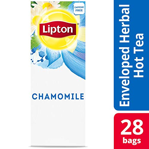 Lipton Chamomile Enveloped Hot Tea Bags Herbal Caffeine Free, 28 count, Pack of 6