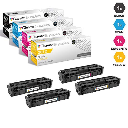 CS Compatible Toner Cartridge Replacement for HP 201X CF400X Black CF401X Cyan CF403X Magenta CF402X Yellow Color Laserjet Pro MFP M277n Laserjet Pro M252 Laserjet Pro M252dw Pro MFP M277 4 Color Set ()