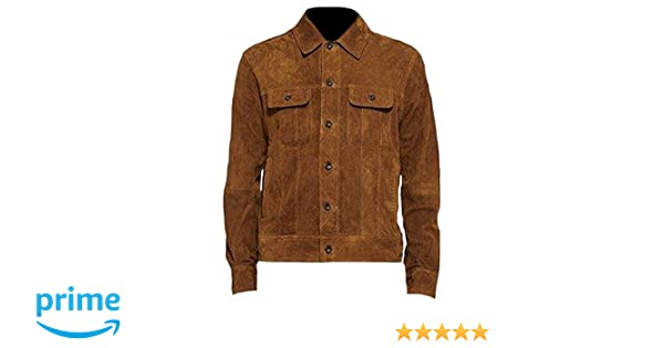 Classyak Mens Fashion Suede Brown Leather Jacket at Amazon Mens Clothing store: