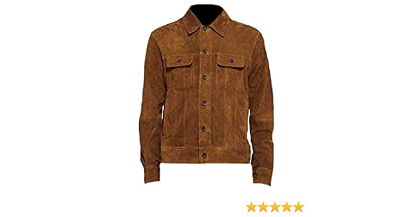Classyak Mens Fashion Suede Brown Leather Jacket