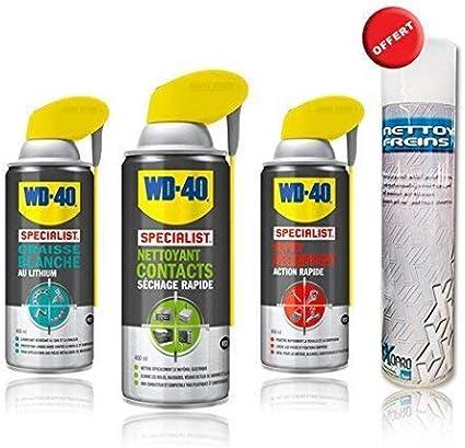 Pack WD40 grasa blanca + limpiador contactos + Super WD-40 – 400 ml: Amazon.es: Coche y moto
