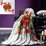 Anniutwo Queen Digital Printing Blanket Queen Hearts Playing Card Casino Design Gambling Game Poker Blackjack Custom Design Cozy Flannel Blanket 80''x60'' Vermilion Yellow White