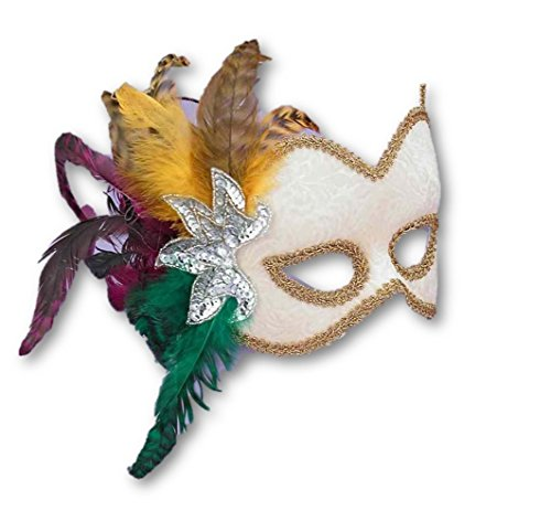 Oyster White Velvet Victorian Mask Mardi Gras Feathers Women's Costume Accessory (Oyster Costume)