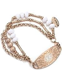 Rose Gold Filled Beads Cuff Wrap Bangle Medical Alert ID Bracelet for Women (Free Engraving)