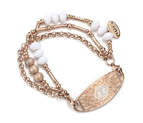 (Free Engraving) Rose Gold Medical Alert ID Bracelets Beads Cuff Wrap Bangle for Women 7Inch by BAIYI Jewelry