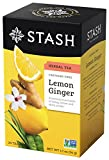 Stash Tea Lemon Ginger Herbal Tea, 20 Tea Bags Per Box, Premium Herbal Tisane, Citrus-y Warming Herbal Tea, Enjoy Hot or Iced