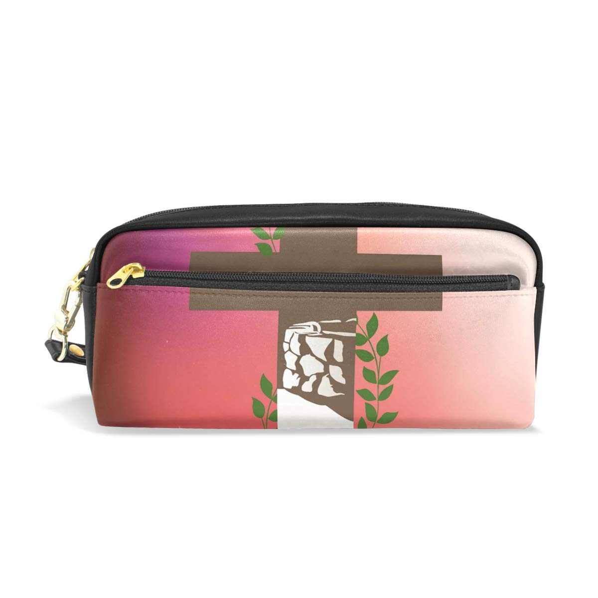 LEISISI Christian Cross School Pencil Bag PU Leather Stationery Pouch Case Women Cosmetic Bag Large Capacity