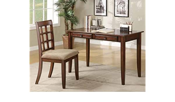 Amazon Com Home Office Writing Desk Chair Set Wood Its Classy And Effortlessly Stylish Look Blends Well With Any Traditional Home Decor Chestnut Kitchen Dining