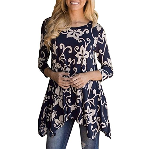 WILLTOO Clearance! Women's T-Shirt Casual Irregular Printed Long Sleeve Blouse Plus Size Tops (Blue, L)