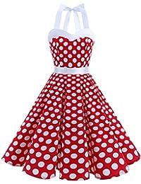 Vintage 1950s Rockabilly Polka Dots Audrey Dress Retro Cocktail Dress