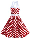 DRESSTELLS Vintage 1950s Rockabilly Polka Dots Audrey Dress Retro Cocktail Dress White Dot S