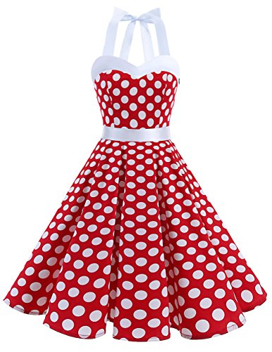 DRESSTELLS 50s Retro Halter Rockabilly Polka Dots Audrey Dress Cocktail Dress Red White Dot S