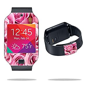 Mightyskins Protective Vinyl Skin Decal Cover for Samsung Galaxy Gear 2 Neo Smart Watch wrap sticker skins Pink Roses