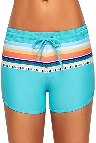 Patchwork Womens Shorts - Aleumdr Women Striped Print Drawstring Swimwear Board Shorts Patchwork Beach Bottoms Light Blue XL 16 18