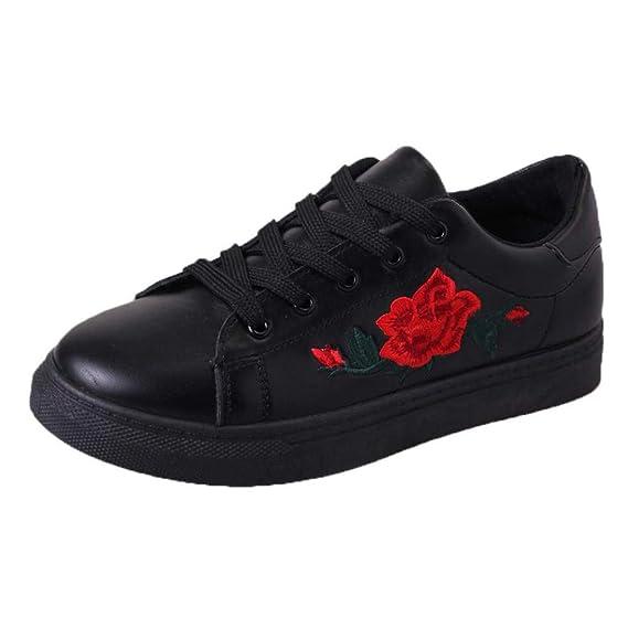 cdeaa8288d3eb5 SuperSU Damen Sneakers Schnürer Sneaker Low Spitze Turnschuhe Mode Damen  Straps Sport Laufschuhe Stickerei Sportliche Blumenschuhe