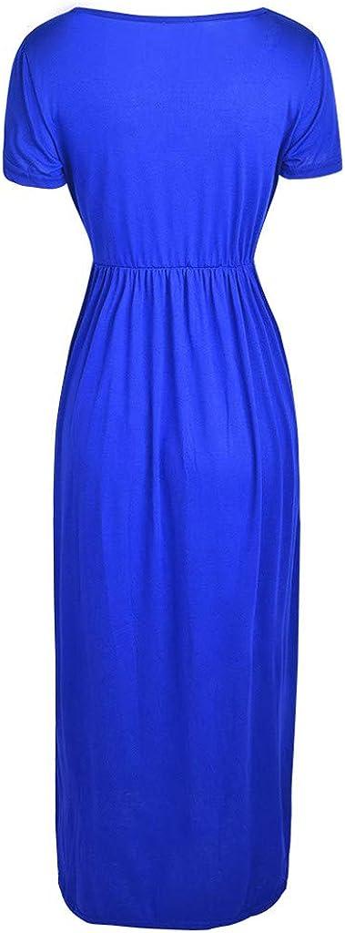 Danhjin Womens Round Neck Casual Loose Pocket Long Dress Short Sleeve Solid Plain Maxi Dresses