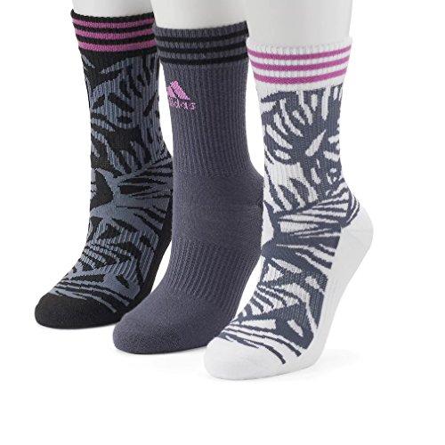 Women's adidas 3-pk. Palm Cushioned Compression Crew Socks (GRAY)