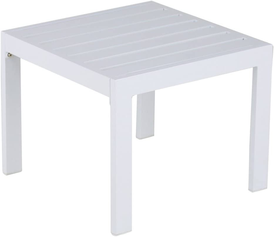 Elle Decor Paloma Outdoor Patio Furniture Collection in Weather-Resistant Metal Frame Patio Side Table, White