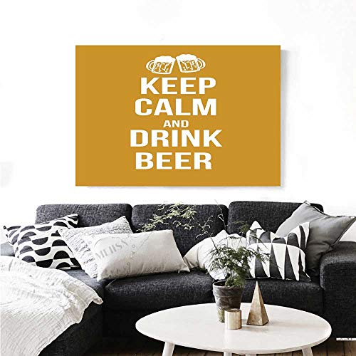 Keep Calm Wall Paintings Drink Beer Poster Design with Graphic Foamy Glasses Leisure Time Fun Pub Print Print On Canvas for Wall Decor 32