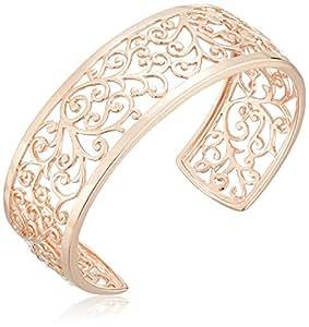 "14k Rose Gold Plated Sterling Silver Filigree Open Cuff Bracelet, 6.5"""