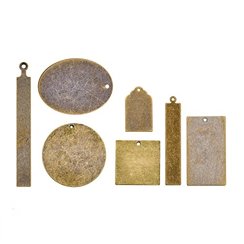 (Pandahall 14pcs Antique Bronze Brass Blank Stamping Tag Pendants Metal Tags Charms DIY Jewelry Making Mixed Oval Round Rectangle Square)
