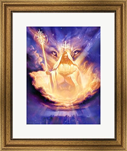Christian Lion Of Judah by Jeff Haynie Framed Art Print Wall Picture, Wide Gold Frame, 20 x 24 inches by Great Art Now