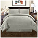 Superior Pom Gina Comforter Set with Pillow Shams, Luxury Pom-Pom Bedding with Soft Microfiber Shell, All Season Down Alternative Fill - Full/Queen, Grey