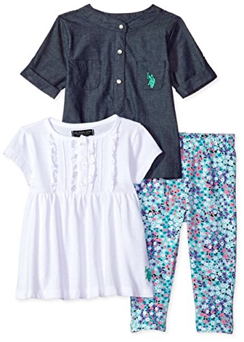 U.S. Polo Assn. Girls' Chambray Woven Tee Knit Ruffle Neck Baby Doll T-Shirt and Floral Print Legging, White, 12M