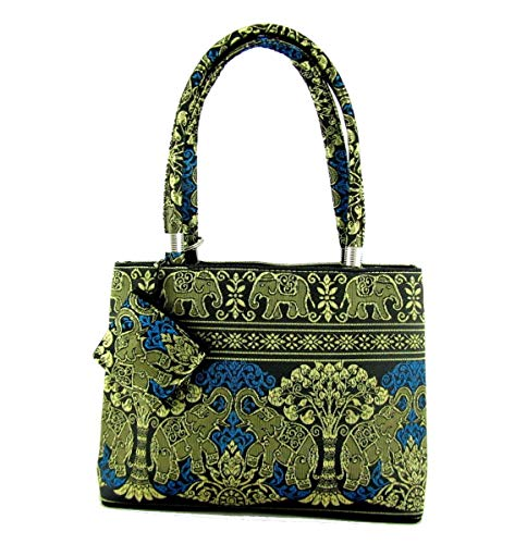 Thai Silk Handbag Brocade Small Elephant Purse (Lucky Elephant Royal Blue)
