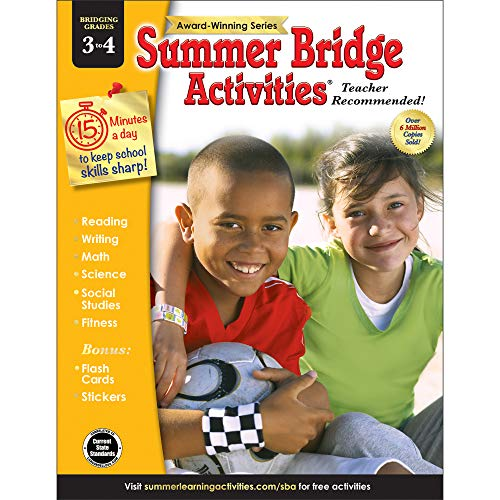 Summer Bridge Activities - Grades 3 - 4, Workbook for Summer Learning Loss, Math, Reading, Writing and More with Flash Cards and Stickers (Best After School Activities For Kids)