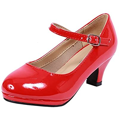 Forever Dana-63K Little Girl Kids Mid Heel Mary Jane Sandal PU Leather Dress Pumps Dancing Shoes