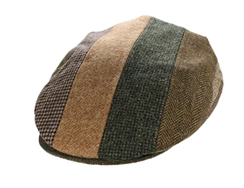 Flat Cap Striped Patchwork Brown & Tan Tweed Hanna Hats Ireland Large - Tan Wool Tweed