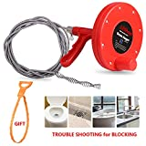 Drain Snake, LEShop Drain Auger, Great Drain Clog Remover Use For Plumbing Snake Pipe Cleaner/Sewer/Bathtub Drain/Kitchen Sink Cleaner (red)