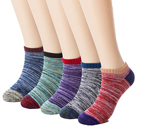 Eleray 5-Pairs Women's Thick Knit Warm Vintage Wool Socks Comfort Ankle No Show Sock (5-Pairs(A)) (Thick Polyester)