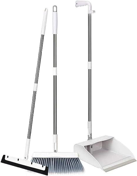 Queta Juego de Escoba y Recogedor Barredora Plegables 180 /° Limpieza Escoba y Recogedor Plegables con 88cm Mango Largo Gris-Blanco 3 Piezas Combinados para la Limpieza del Hogar