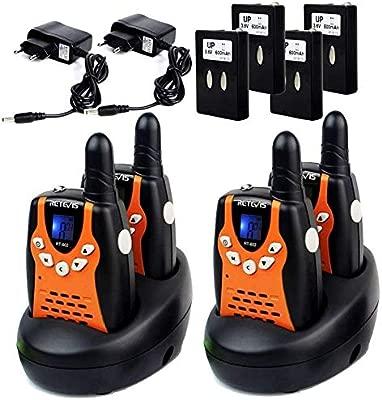 Retevis RT602 Walkie Talkie Niños Recargable PMR446 8 Canales VOX Linterna Pantalla LCD Regalo para Niños Walkie Talkie Juguete con Cargador y Batería ...