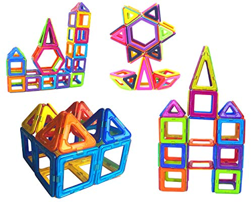 LearnFun 56 Pieces Strong Magnetic Building Block Set | Colorful 3D Construction Tiles for Children | Best Educational, Learning Preschool Creativity Kit STEM Toys for Toddlers, Kids, Girls and Boys