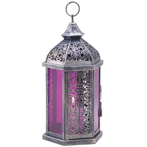 Purple Glass Candle Lantern - 11.5 inches (Birdhouse Candle Lantern)