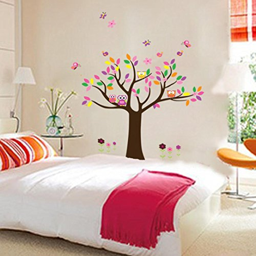 Iusun 3d Diy Owl Bird Flowert Wall Stickers Room