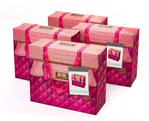 Pink Purse Gift Box - Bulk Set of Womens Large Hot Pink Paper Party Favor Gift Bags with Handles (4)