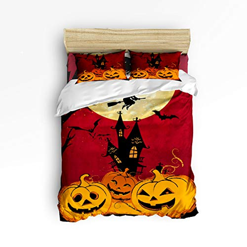 EZON-CH Twin Size 4 Piece Duvet Cover Set Cute Bedding Set for Girls Boys,Funny Pumpkins Smile Face Pattern Happy Halloween Bed Sets,Include 1 Flat Sheet 1 Duvet Cover and 2 Pillow Cases -