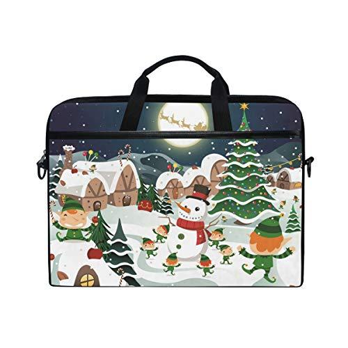 Romantic angel Christmas Night Snowman Laptop Bag ()