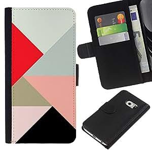 Samsung Galaxy S6 EDGE / SM-G925(NOT FOR S6!!!) Modelo colorido cuero carpeta tirón caso cubierta piel Holster Funda protección - Triangle Polygon Red Play Peach Art Pattern