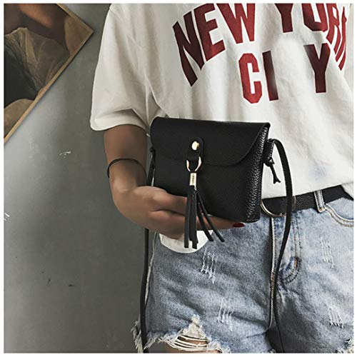 Bafaretk Shoulder Woman's Handbag with Bag Tassel Mini BLACK Fashion Messenger Bags Vintage Small OwOrA6