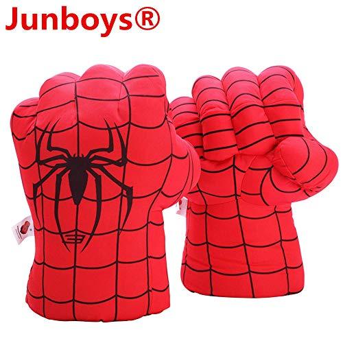 (Junboys Plush Kids Boxing Glove Spiderman Toys Super Hero Spider Man Gloves, Smash Hands Fists Super Man Spider, Incredibles Spider-Man Costume Cosplay Dolls for Boys Girls. (1 Pair, Red))