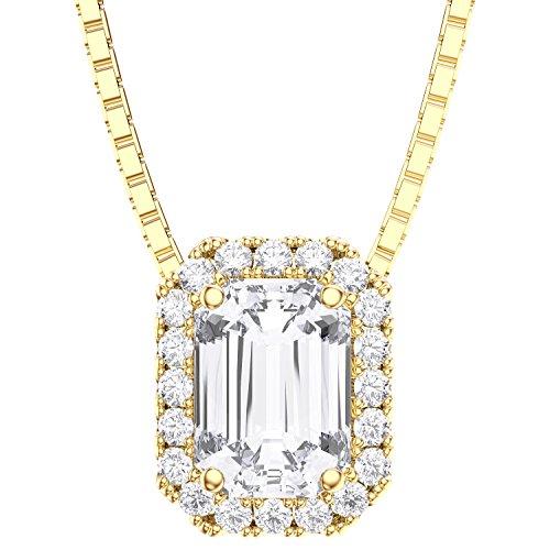 Princesse Argent Sterling Diamant Pendentif émeraude (or jaune)